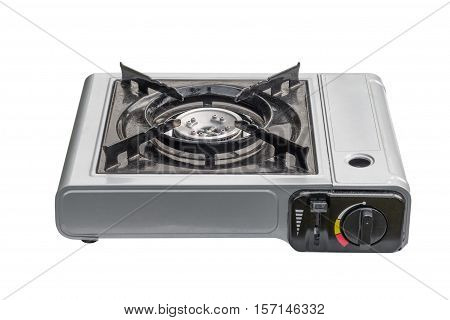 travel portable gas stove isolated on white background