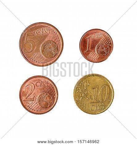 Minsk, Belarus - April 16, 2016: Four EU eurocent. 1, 2 5 10 eurocents 100 cents 1 euro There are coins of 1 2 5 10 20 and 50 cents
