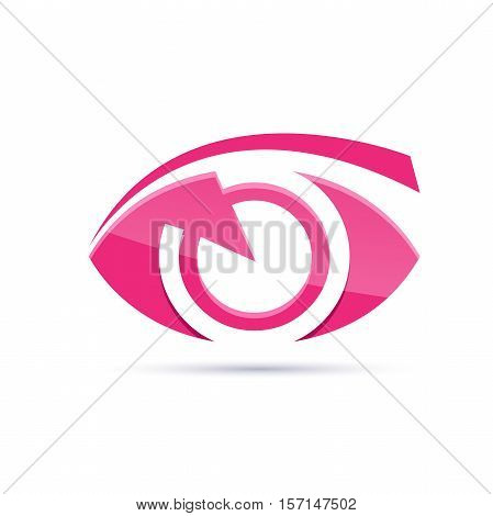 Vector sign pink eye photographer in abstract shape