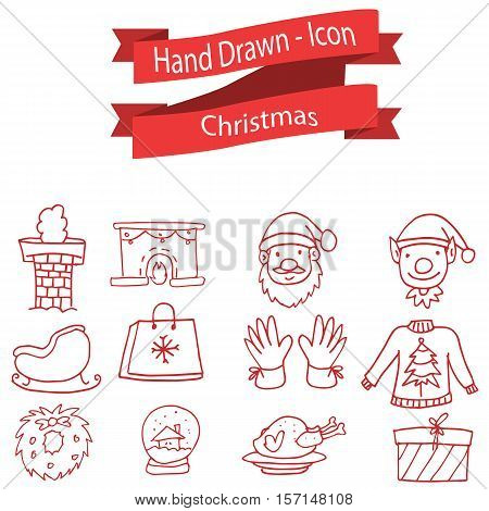 Set of Christmas icon collection stock vector art