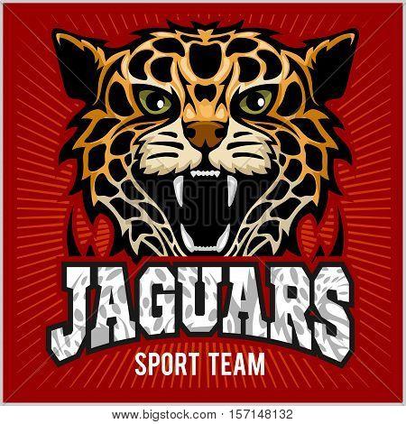 Jaguar, wild cat Panther. Vector illustration on red background.