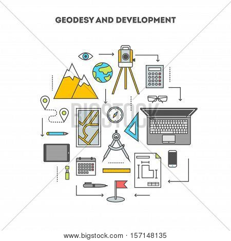 Concept set of tools and devices for surveying and engineering construction, the flat icons, vector illustration