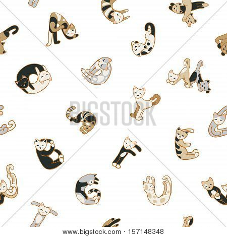 Seamless vector patten - cats letters on white background