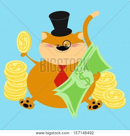 Rich thick red cat. Finance cat banker. Cartoon vector