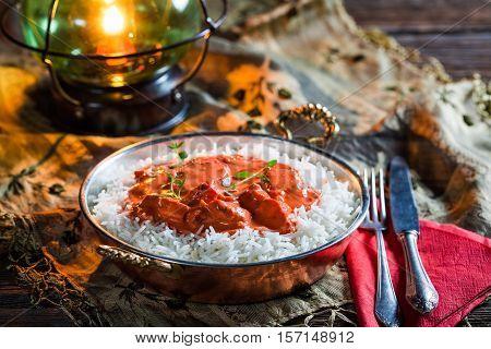 Tasty Tikka Masala With Rice And Chicken In Tomato Sauce