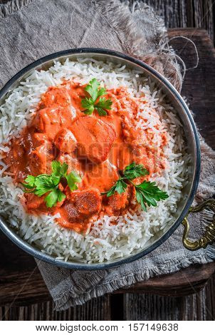 Indian Tikka Masala With Rice And Chicken