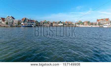 The port with Habour of Volendam. Netherlands
