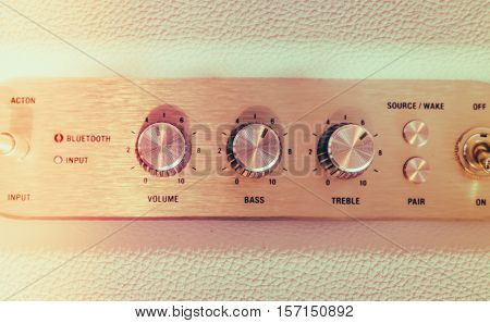 Volume control knob of  hi-fi amplifier  ( Filtered image processed vintage effect. )