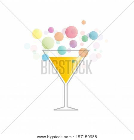 Vector abstract fizzy cocktail in abstract shape
