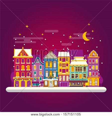 Winter Night In Cosy Town Street Scene. Classic European Houses Landscape With Christmas Holiday Dec