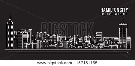 Cityscape Building Line art Vector Illustration design - Hamilton city