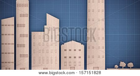 3d illustration of a cardboard city landscape