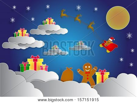 ginger bread have a many gift box on cloud christmas background vector copy space for text illustration paper art and origami style