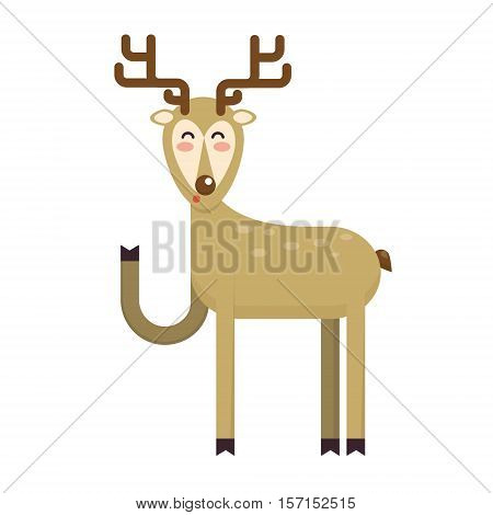 Happy smiling christmas deer cartoon character waving hoof. Cheerful positive xmas reindeer. Santa caribou vector icon illustration. Holiday elk symbol