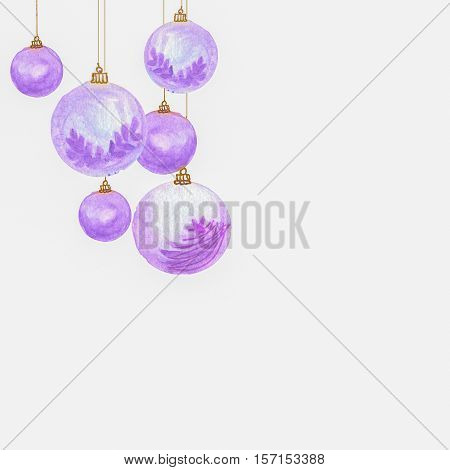 purple Christmas balls with golden bracket square background