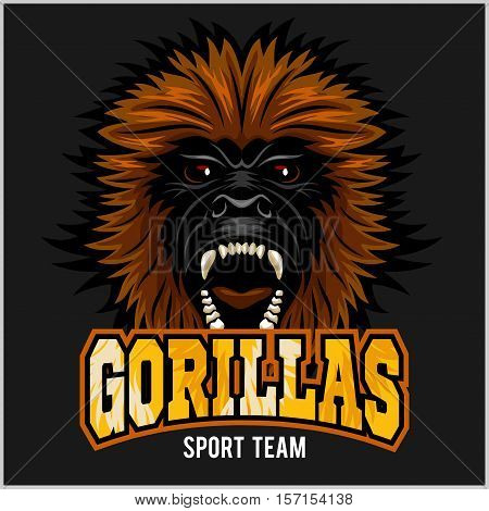Gorilla head logo vector illustration - sport team