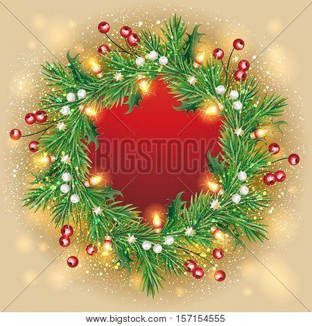 The raster version Christmas wreath. Holidays frame.