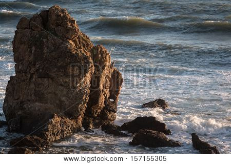 Rock Promontory: Waves and Cliff Sea Gulls