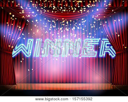 Winner neon lettering live stage on background with red curtain stage. Vector abstract background