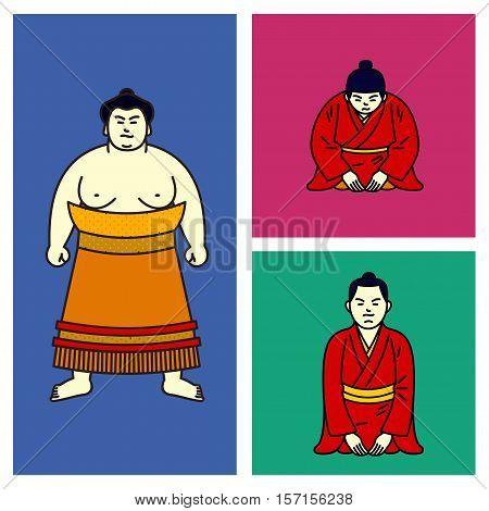 Vector Illustration Japanese Boy