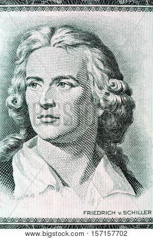 Friedrich Schiller portrait from old German money