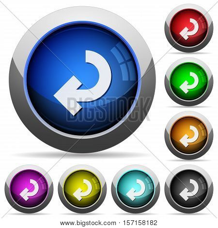 Return arrow icons in round glossy buttons with steel frames
