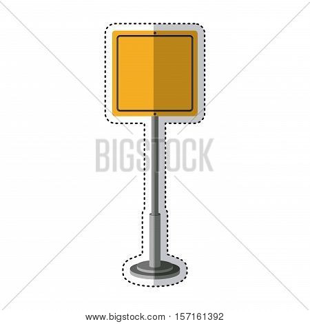 Yellow road sign icon. Street information warning and guide theme. Isolated design. Vector illustration