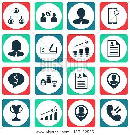 Set Of Human Resources Icons On Bank Payment, Manager And Phone Conference Topics. Editable Vector I