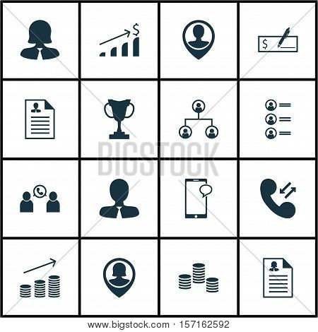 Set Of Hr Icons On Successful Investment, Tree Structure And Business Woman Topics. Editable Vector