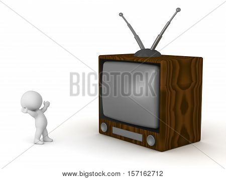 3D character and a large retro TV. Isolated on white background.
