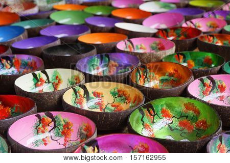 COC LY VIETNAM October 25 2016 : Numerous decorated traditional bowls on the market of Coc Ly a small village in the mountains of North Vietnam.