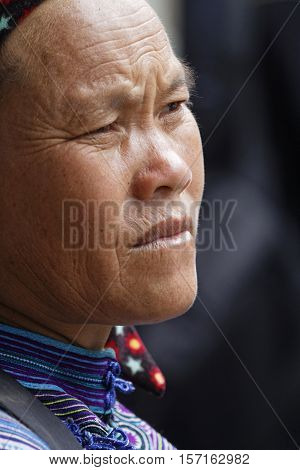 Coc Ly, Vietnam, October 25, 2016 : Portrait Of A Woman During Tuesday Market Of Coc Ly, A Small Vil