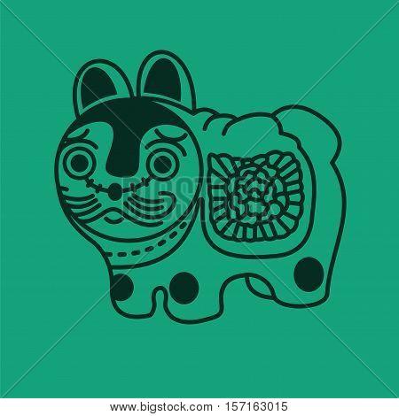 Vector Illustration Japanese Symbol Toy Dog