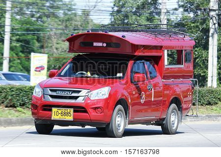 CHIANG MAI THAILAND - OCTOBER 27 2016: Red taxi chiangmai Isuzu Dmax. Service in city and around. On road no.1001 8 km from Chiangmai Business Area.