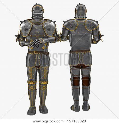 Old metal knight armour isolated on white background. 3D illustration