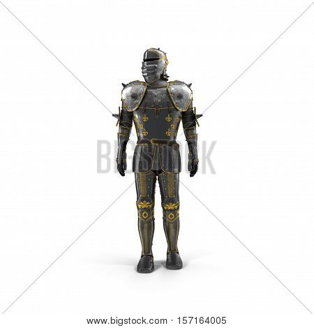 Full suit of Armour on white background. 3D illustration