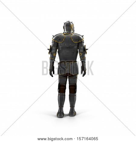 Isolated European Medieval Suit Of Armour or Armor With Helmet on white background. 3D illustration