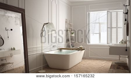 Scandinavian bathroom white minimalistic design hotel spa resort, 3d illustration