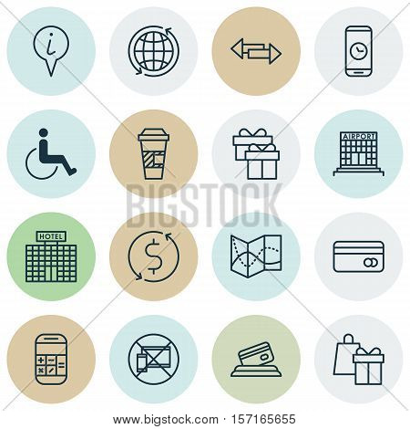 Set Of Traveling Icons On World, Forbidden Mobile And Airport Construction Topics. Editable Vector I