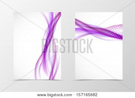 Front and back wave flyer template design. Abstract template with purple lines and halftone effect in soft style. Vector illustration