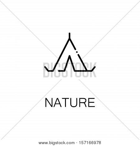 Tent flat icon. Single high quality outline symbol of recreation for web design or mobile app. Thin line signs of tent for design logo, visit card, etc. Outline pictogram of tent
