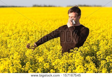 Man In Yellow Canola Field Blowing His Nose And Suffering From Pollen Allergy.
