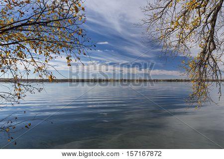 A scenic lake landscape in the fall.