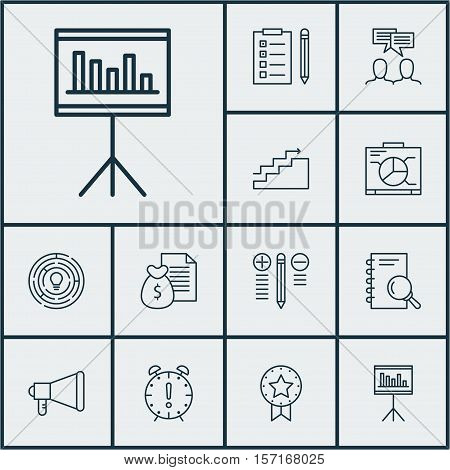 Set Of Project Management Icons On Discussion, Growth And Board Topics. Editable Vector Illustration