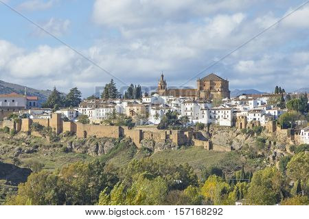 Medieval wall of Ronda in Andalusia Spain