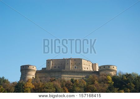 San Leo hystoric castle in Romagna countryside travel Italy in autumn