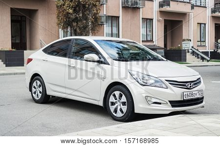 Sochi, Russia - October 11, 2016: New Hyundai Elantra (Avante) parked on the street of Sochi.