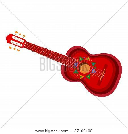 Spanish guitar with Mexican, Aztec ornaments, vector illustration isolated on white background. Hand drawn Spanish guitar, symbol of Mexical culture