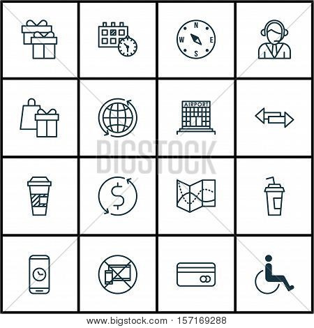 Set Of Transportation Icons On Forbidden Mobile, Takeaway Coffee And Shopping Topics. Editable Vecto