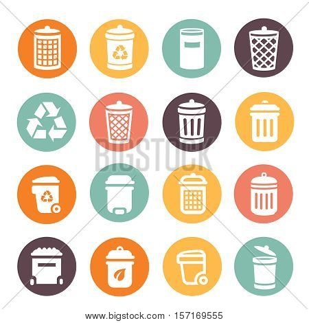 Colorful different trash can icons on circular battons set